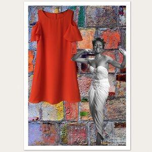 Gianni Bini Orange Bethany Cold Shoulder Dress.